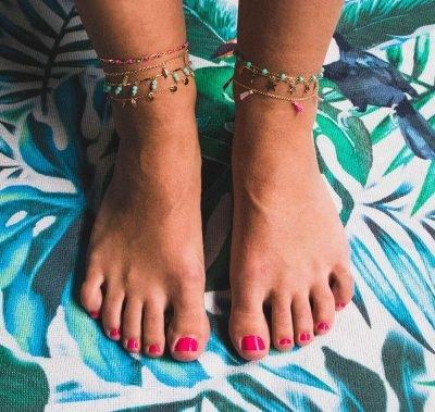 Enkelbandje Beaded Line goud gouden enkelbandjes mint turquoise stenen online kopen festival fashion