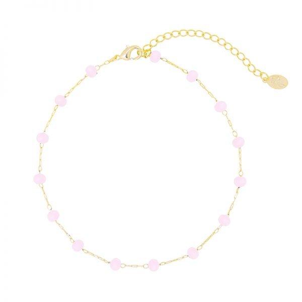 Enkelbandje Beaded Line goud gouden enkelbandjes roze stenen online kopen detail