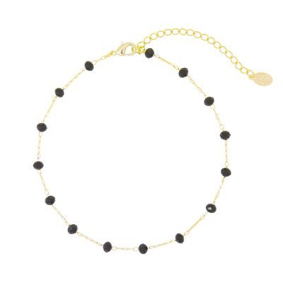 Enkelbandje Beaded Line goud gouden enkelbandjes zwart zwarte stenen online kopen