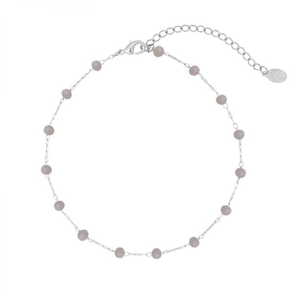 Enkelbandje Beaded Line zilver zilveren enkelbandjes grijs grijze stenen online kopen