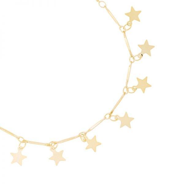 Enkelbandje Stars goud gouden enkelbandje dames kettinkjes sterren sterretjes online kopen detail