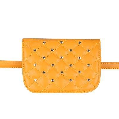 Heuptas-Chester Chic-geel gele belt bag riem tasjes-fannypack-fanny-pack-heuptas-beltbag-vierkant gouden studs-dames-gewatteerd-fashion-online-bestellen