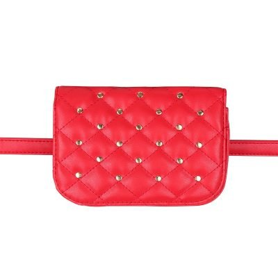 Heuptas-Chester Chic-rood rode belt bag riem tasjes-fannypack-fanny-pack-heuptas-beltbag-vierkant gouden studs-dames-gewatteerd-fashion-online-bestellen