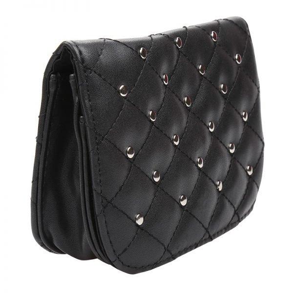 Heuptas-Chester Chic-zwart zwarte belt bag riem tasjes-fannypack-fanny-pack-heuptas-beltbag-vierkant flap bag studs-dames-gewatteerd-fashion-online-bestellen