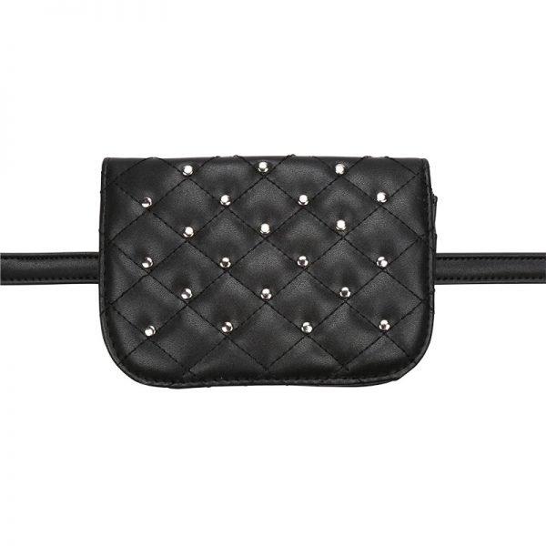 Heuptas-Chester Chic-zwart zwarte belt bag riem tasjes-fannypack-fanny-pack-heuptas-beltbag-vierkant gouden studs-dames-gewatteerd-fashion-online-bestellen