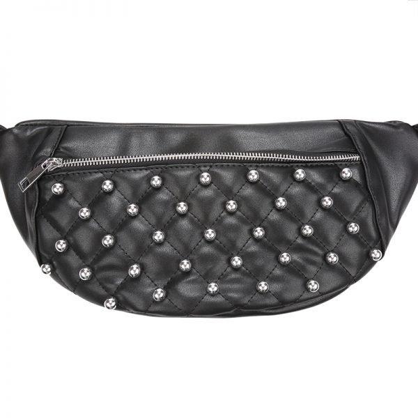 Heuptas Round Studs zwart zwarte fannypack heuptassen met rits zilveren studs musthave fashion accesiores festival kopen