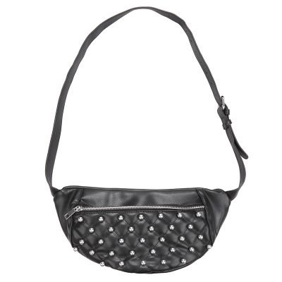 Heuptas Round Studs zwart zwarte fannypack heuptassen met rits zilveren studs musthave fashion accesiores festival kopen bestellen