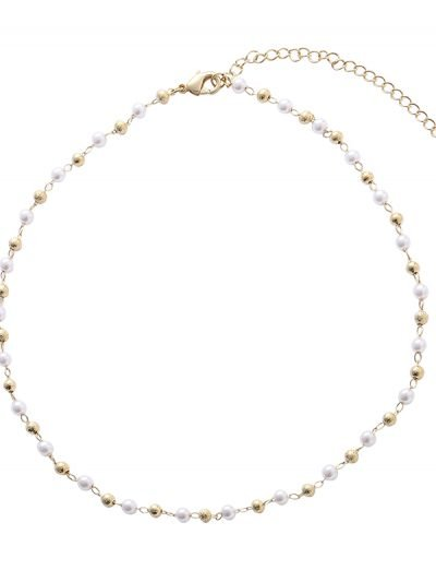 Ketting Golden Pearl goud gouden gold plated sieraden korte kettinkjes Necklace accessoires fashion online kopen