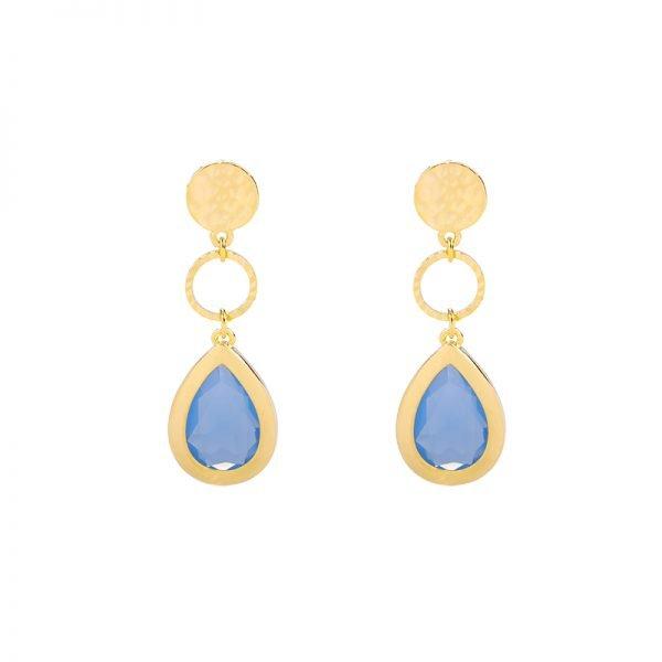Oorbellen Chic Lady goud gouden oorbellen oorhangers blauwe stenen dames sieraden drop earrings kopen