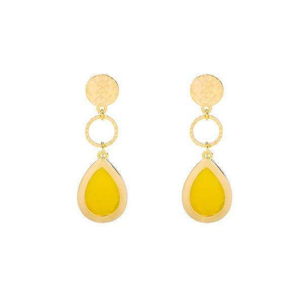 Oorbellen Chic Lady goud gouden oorbellen oorhangers geel stenen dames sieraden drop earrings kopen