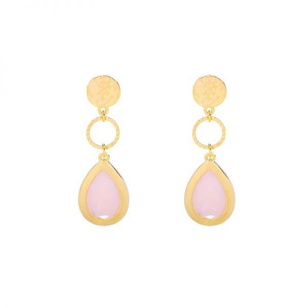 Oorbellen Chic Lady goud gouden oorbellen oorhangers roze stenen dames sieraden drop earrings kopen