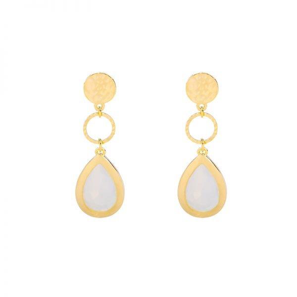 Oorbellen Chic Lady goud gouden oorbellen oorhangers wit stenen dames sieraden drop earrings kopen