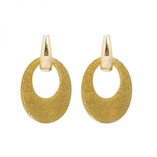 Oorbellen My Sparkles goud gouden glitter oorbellen geel gele strass steentjes musthave earrings oorbel kopen