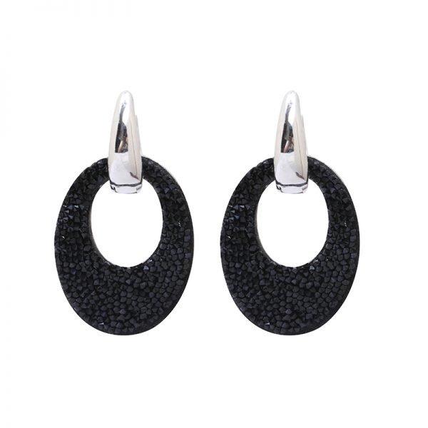 Oorbellen My Sparkles zwart zwarte glitter oorbellen zilver zilveren strass steentjes musthave earrings oorbel kopen
