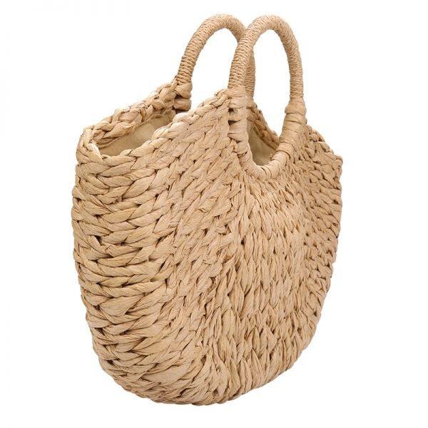 Rattan Tas Summer Love rotan rieten dames tassen strand beige bruine zomer online kopen zijkant