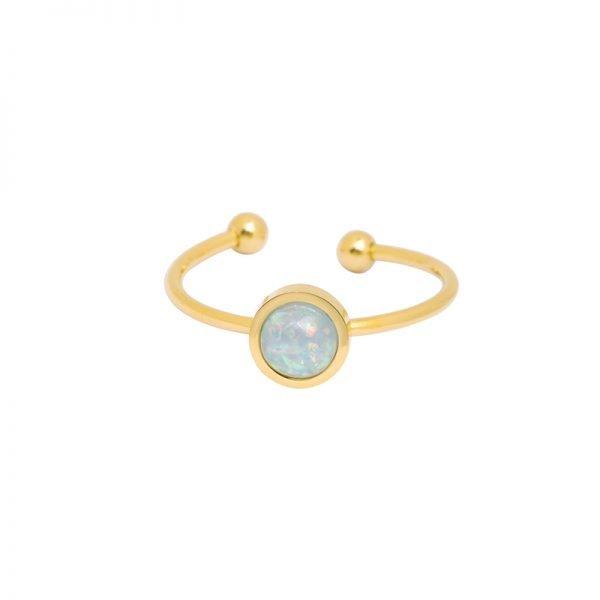 Ring Be Mine goud gouden open ringen blauwe stenen musthave ringen dames sieraden online kopen