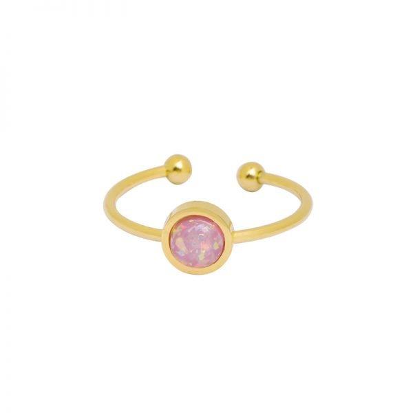 Ring Be Mine goud gouden open ringen roze stenen musthave ringen dames sieraden online kopen