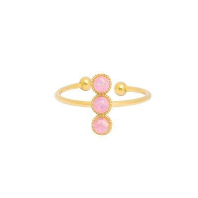 Ring three stones goud gouden open ringen roze stenen musthave ringen dames sieraden online kopen