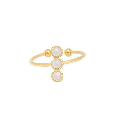 Ring three stones goud gouden open ringen witte stenen musthave ringen dames sieraden online kopen