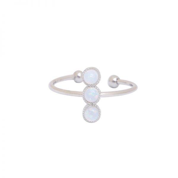 Ring three stones zilver zilveren open ringen witte stenen musthave ringen dames sieraden online kopen