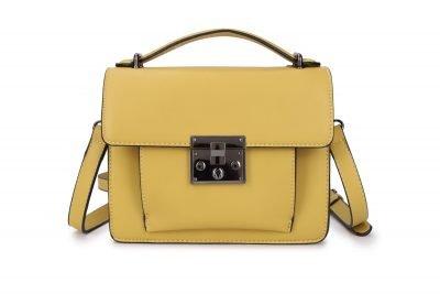 Schoudertas Festival Must geel gele kunstlederen dames tassen itbags voorvakje donker zilver beslag tassen online bestellen