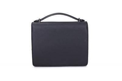 Schoudertas Festival Must zwart zwarte kunstlederen dames tassen itbags voorvakje donker zilver beslag tassen online bestellen achterkant