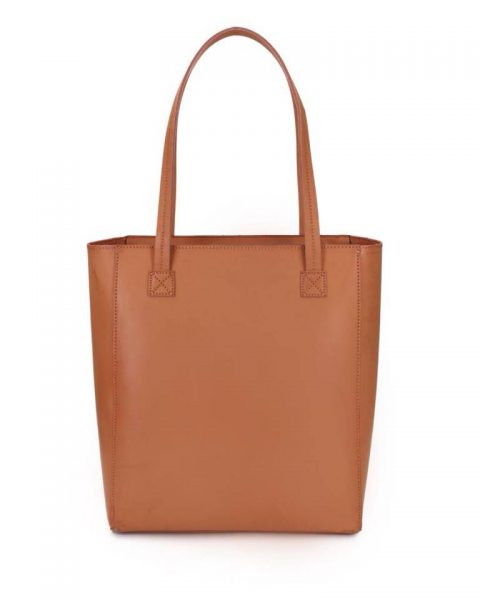 Shopper Simple Studs cognac bruin camel bruine grote simpele kunstleder shoppers online giuliano tassen bestellen kopen