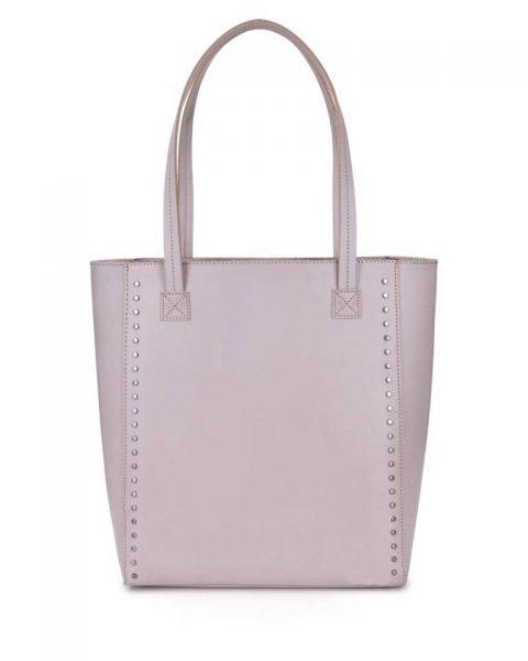 Shopper Simple Studs grijs grijze taupe grote simpele kunstlederen shoppers online giuliano tassen bestellen kopen