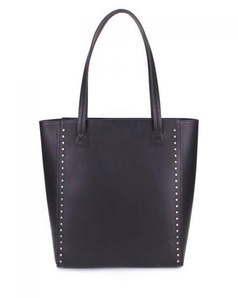 Shopper Simple Studs zwart zwarte grote simpele kunstlederen shoppers online giuliano tassen bestellen kopen