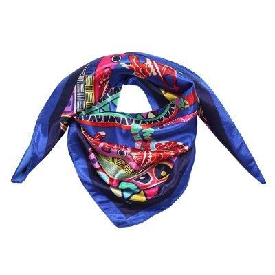 Sjaal Colorful animals blauw blauwe dames sjaals gekleurde dieren print sjaals omslagdoeken zachte sjaalsjes musthave fashion goedkope vierkante
