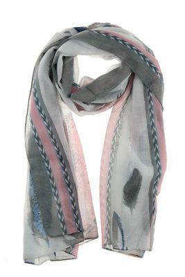 Sjaal Flying Feathers-wit witte grijs blauw roze sjaals sjaaltjes met gekleurde veren print fashion online printsjaals kopen