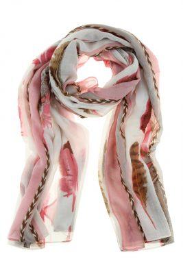 Sjaal Flying Feathers-wit witte koraal roze pink sjaals sjaaltjes met gekleurde veren print fashion online printsjaals kopen