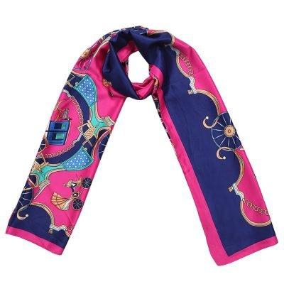 Sjaal Silky Circus blauw blauwe fuchsia lange glans dames sjaals met gekleurde print musthave scarfs shawls online bestellen