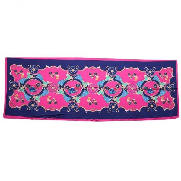 Sjaal Silky Circus blauw blauwe fuchsia lange glans dames sjaals met gekleurde print musthave silk scarfs shawls online bestellen kopen