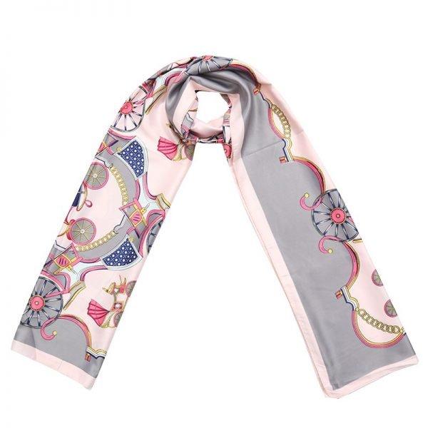 Sjaal Silky Circus grijs grijze roze pink lange glans dames sjaals met gekleurde print musthave scarfs shawls online bestellen