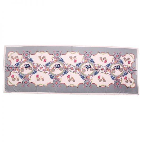 Sjaal Silky Circus grijs grijze roze pink lange zijden dames sjaals met gekleurde print musthave 100% silk scarfs shawls online bestellen kopen