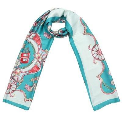 Sjaal Silky Circus mint turquoise licht blauw blauwe lange zijden dames sjaals met gekleurde print musthave 100% silk scarfs shawls online bestellen