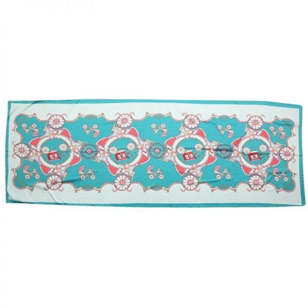 Sjaal Silky Circus mint turquoise licht blauw blauwe lange zijden dames sjaals met gekleurde print musthave 100% silk scarfs shawls online bestellen kopen