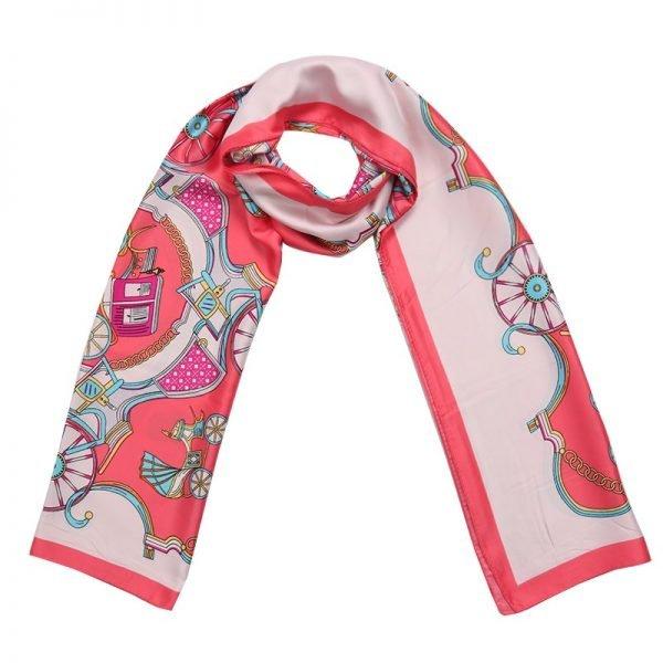 Sjaal Silky Circus roze pink lange glans dames sjaals met gekleurde print musthave scarfs shawls online bestellen