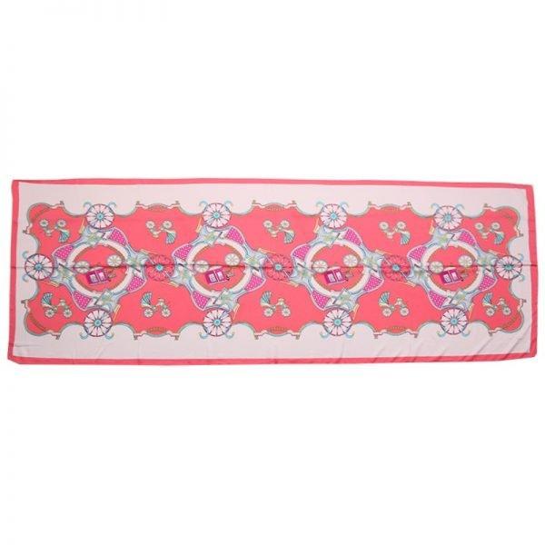 Sjaal Silky Circus roze pink lange glans dames sjaals met gekleurde print musthave scarfs shawls online bestellen kopen