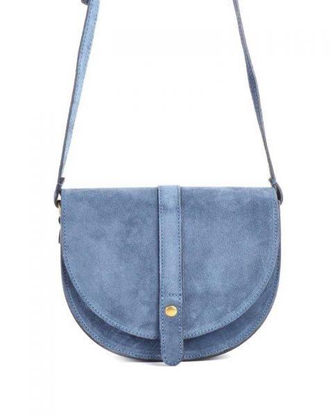 Suede-Schoudertas-Half-Rond licht blauwe blauw-leren-lederen-tassen-half-festival-giuliano-bags-goedkope-dames-online