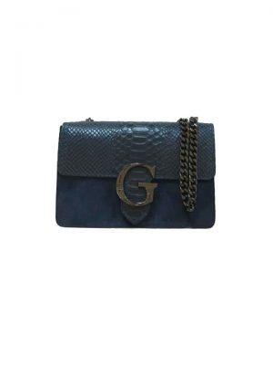 Suede-Tas-G-Snake-Flap-blauw blauwe half suede leren snakeprint tas zilveren kettinghengsel