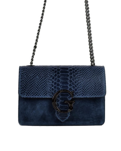 Suede-Tas-G-Snake-Flap-blauw-blauwe-half-suede-leren-snakeprint-tas-zilveren-kettinghengsel-kopen bestellen schoudertassen