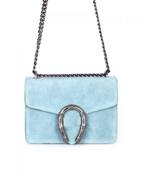 Suede Tas Hoefijzer blauw blauwe kleine leren schoudertassen met kettinghengsel en hoef ijzer sluiting musthave giuliano tassen online bestellen