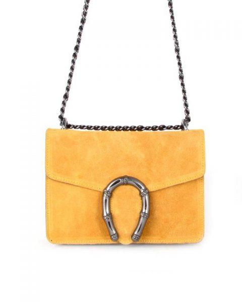 Suede Tas Hoefijzer oker geel gele kleine leren schoudertassen met kettinghengsel en hoef ijzer sluiting musthave giuliano tassen online bestellen