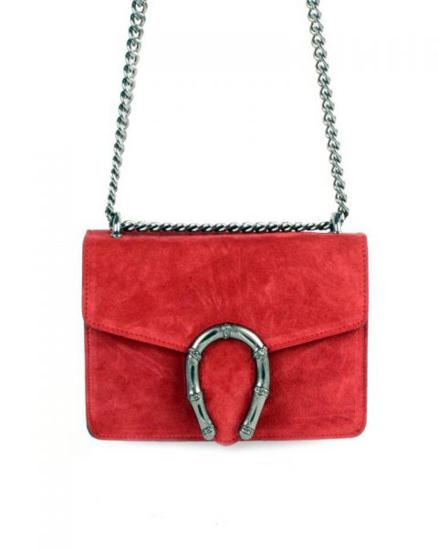 Suede Tas Hoefijzer rood rode kleine leren schoudertassen met kettinghengsel en hoef ijzer sluiting musthave giuliano tassen online bestellen