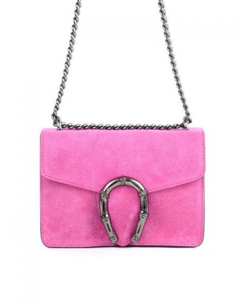 Suede Tas Hoefijzer roze pink kleine leren schoudertassen met kettinghengsel en hoef ijzer sluiting musthave giuliano tassen online bestellen