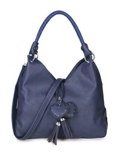 Tas Hearts Tassle blauw blauwe dames handtassen schoudertassen kunstleder hartjes kwastje kopen