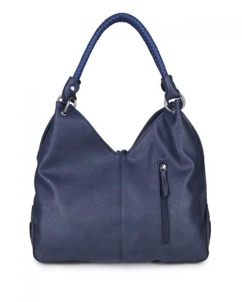 Tas Hearts Tassle blauw blauwe dames handtassen schoudertassen kunstleder hartjes kwastje kopen achter