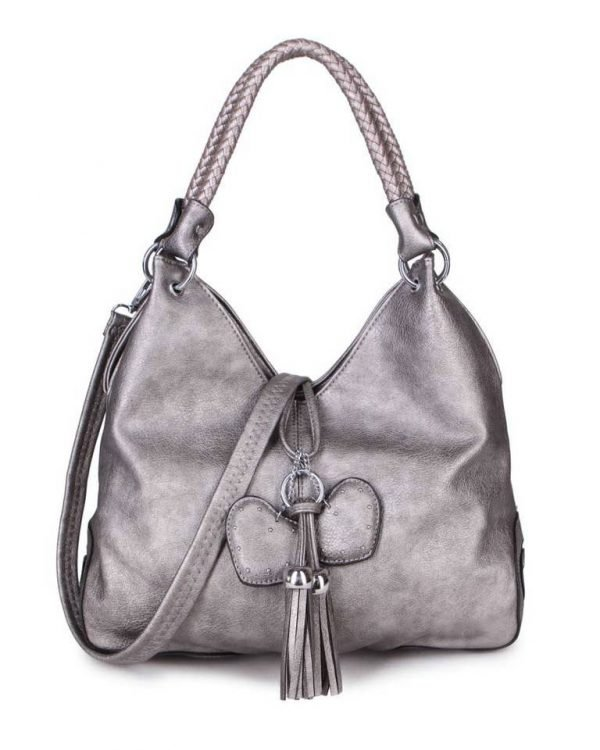 Tas Hearts Tassle brons bronzen metallic dames handtassen schoudertassen kunstleder hartjes kwastje kopen